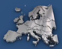 Europe metal map Stock Photos