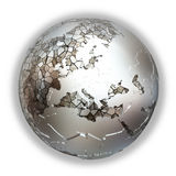 Europe on metallic Earth Royalty Free Stock Photo
