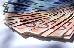 Europe money. Bunch of europe money on white desk stock photo