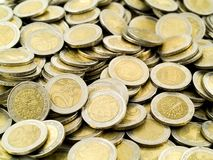 Europe Money. Metal coins of european money Royalty Free Stock Photo