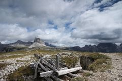 Landscape with a mountain, Italy Stock Images