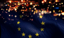 Europe National Flag Light Night Bokeh Abstract Background Stock Photography