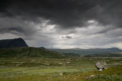 Mountain nature landscape in Morway summer. Europe nature - lakes mountains and sky for hiking Stock Photo