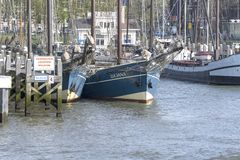 Europe, Netherlands, Rotterdam, 04-2018, Historic old haven for old boats. royalty free stock image