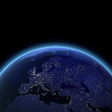 Europe night view. Maps from NASA imagery Royalty Free Stock Photos