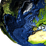 Europe and North America on Earth with exaggerated mountains. Europe and North America on model of Earth with exaggerated surface features including ocean floor Royalty Free Stock Photo