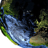 Europe and North America on Earth at night with exaggerated moun. Europe and North America on model of Earth with exaggerated surface features including ocean Royalty Free Stock Image