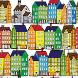 Europe old houses seamless pattern Royalty Free Stock Photos