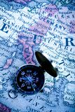 Europe old map and compass Royalty Free Stock Images
