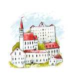 Europe old town illustration. Hand drawn houses with red roofs ang green bushes. Medieval city on hill, sketch drawing. Stock Image