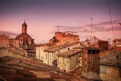 Europe, old town roofs in warm sunset light - landscape Royalty Free Stock Photos