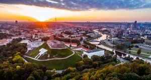 Europe old town Vilnius. Aerial photo made with drone stock photography