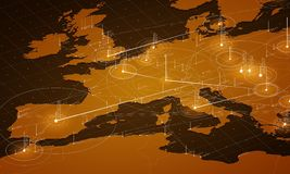 Europe orange map big data visualization. Futuristic map infographic. Information aesthetics. Visual data complexity. Stock Photography