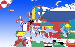 Europe - outline and flags Stock Photos