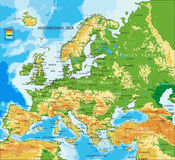 Europe - physical map. Highly detailed physical map of Europe,in vector format,with all the relief forms,countries and big cities Stock Photo
