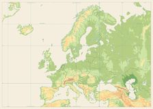 Europe Physical Map Isolated on Retro White. No text. Detailed  illustration of Europe Physical Map Stock Images