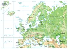 Europe Physical Map Isolated on White. Detailed  illustration of Europe Physical Map Stock Photos