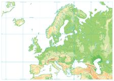 Europe Physical Map Isolated on White. No text. Detailed  illustration of Europe Physical Map Royalty Free Stock Images