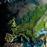Europe on physical map in the morning. Europe on realistic physical map during twilight. 3D illustration with detailed planet surface. Elements of this image Royalty Free Stock Photos