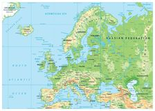 Europe Physical Map. No bathymetry Stock Photo