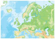 Europe Physical Map. No text. Detailed  illustration of Europe Physical Map Royalty Free Stock Images