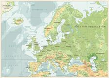 Europe Physical Map. Retro Colors. Detailed  illustration of Europe Physical Map Stock Photo