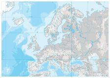 Europe Physical Map. White and Gray. No text. Detailed  illustration of Europe Physical Map Royalty Free Stock Images