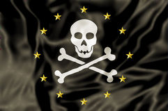 Europe Pirate Flag. Europe and Pirate Flag. Concept for euro crisis, debt, bankruptcy ,financial danger and euro ending Royalty Free Stock Photos
