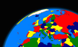 Europe on planet Earth political map Royalty Free Stock Photography