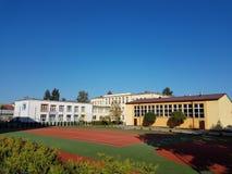 Europe. Poland counry. Jaslo city. Modern children school. Autumn 2017. Gym and backyard royalty free stock photo