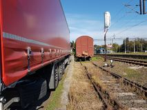 Europe. Poland. Railway station of Jaslo city. Cargo pier. The road and the railway. Europe. Poland. Railway station of Jaslo city. Cargo pier. The road and the royalty free stock photos