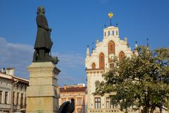 Europe, Poland, Rzeszow, Old Town, Market Square, City Hall & Statue Royalty Free Stock Images