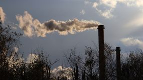 Europe. Poland. Yaslo. Autumn 2017. Smoking factory chimneys stock photo