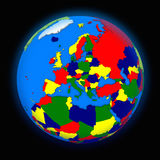 Europe on political Earth Royalty Free Stock Photo