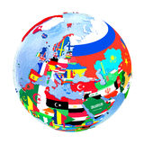 Europe on political globe with flags isolated on white Royalty Free Stock Photo