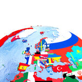 Europe on political globe with flags Royalty Free Stock Photo