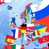 Europe on political globe with flags Stock Photography