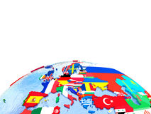 Europe on political globe with flags Stock Image