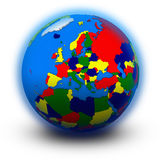 Europe on political globe Royalty Free Stock Photo