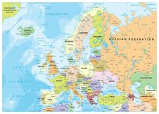 Europe Political Map and Bathymetry Stock Photo