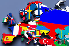 Europe  political map 3d illustration Royalty Free Stock Image