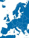 Europe Political Map Outline. Europe Political Map and surrounding region with all countries and national borders. Blue outline illustration on white background Stock Image