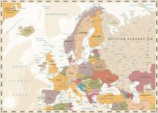 Europe Political Map. Retro Colors and Bathymetry Royalty Free Stock Images
