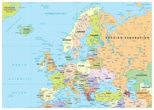 Europe Political Map and Roads. Detailed  illustration of Europe Map Stock Photography