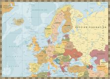 Europe Political Map. Vintage Colors and Bathymetry Royalty Free Stock Photos