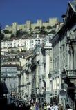 EUROPE PORTUGAL LISBON BAIXA CASTELO. The castelo sao Gorge in the city centre of Baixa in the city centre of Lisbon in Portugal in Europe Stock Photography