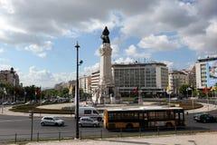 EUROPE PORTUGAL LISBON BAIXA RESTAURADORES. The monumento dos restauradores in baixa in the city of Lisbon in Portugal in Europe Royalty Free Stock Photo