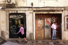 EUROPE PORTUGAL LISBON BAIXA. On the streets in Baixa in the city centre of Lisbon in Portugal in Europe Stock Photos