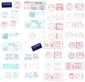 Europe: post labels and postmarks. Great Britain, Germany, Italy, France post meters, labels and stamps vector illustration