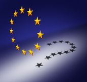 Europe Question. S or Eurozone crisis concept as a group of three dimensional stars creating a cast shadow of a question mark as a symbol for euro decision Royalty Free Stock Image